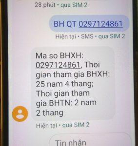 Tin nhắn tra cứu BHXH